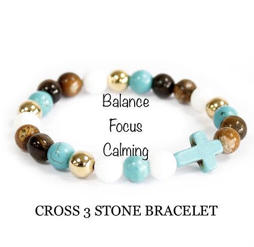 Unisex Three Gemstone Cross Bracelet (balance*focus*calming)