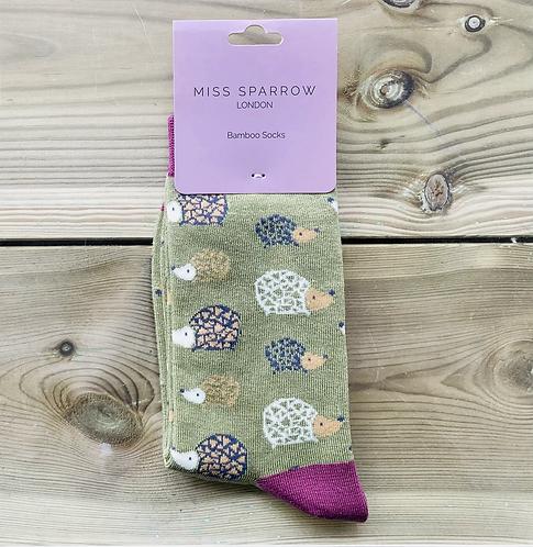 Ladies Olive Hedgehog Bamboo Socks