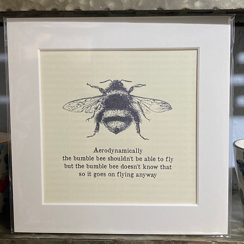 bumble bee with cant fly saying mounted print