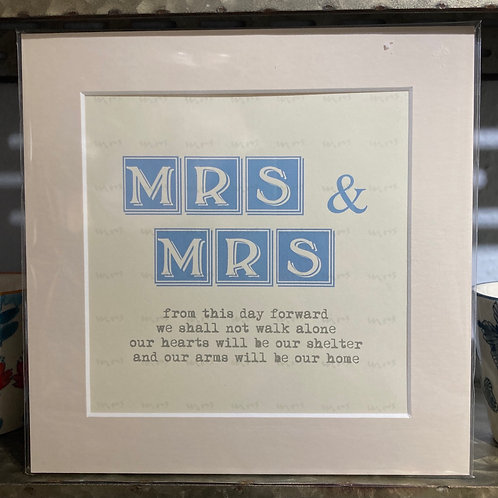 mrs & mrs definition mounted print