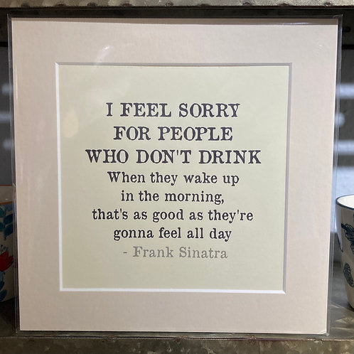 i feel sorry for people who don't drink  mounted print