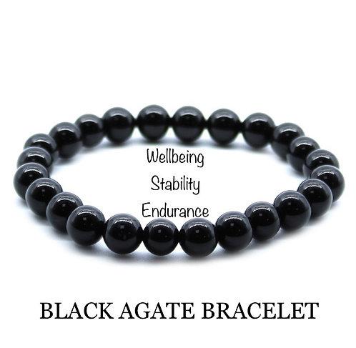 Unisex Black Agate Gemstone Bracelet (wellbeing*stability*endurance)