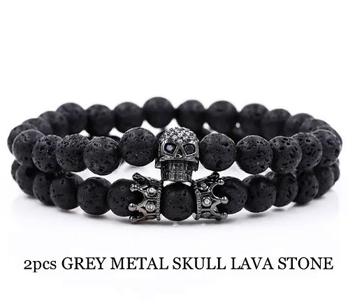 Two Piece Set Gunmetal Skull and Crown Lava Stone Bracelets