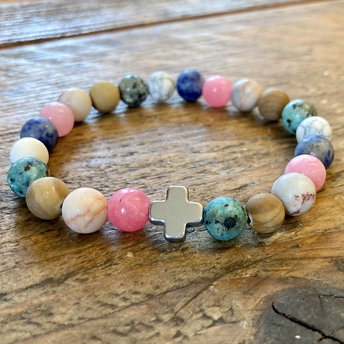 Unisex Harmony Friendship Bracelet. Rainbow Gemstones