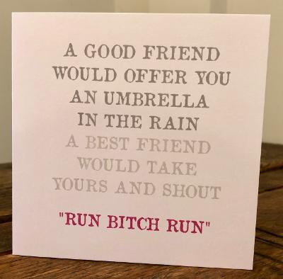 a good friend would offer you an umbrella greeting card