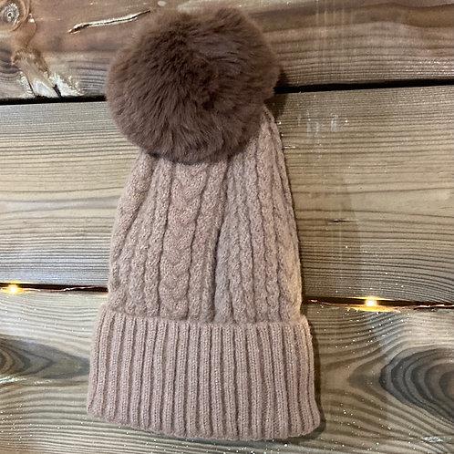 Fawn Cashmere Blend Bobble Hat