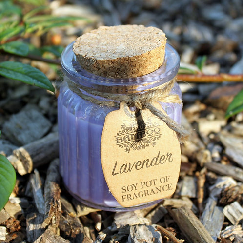 Glass Lavender Soy Pot of Fragrance Candle