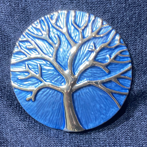 Blue Magnetic Tree of Life Brooch