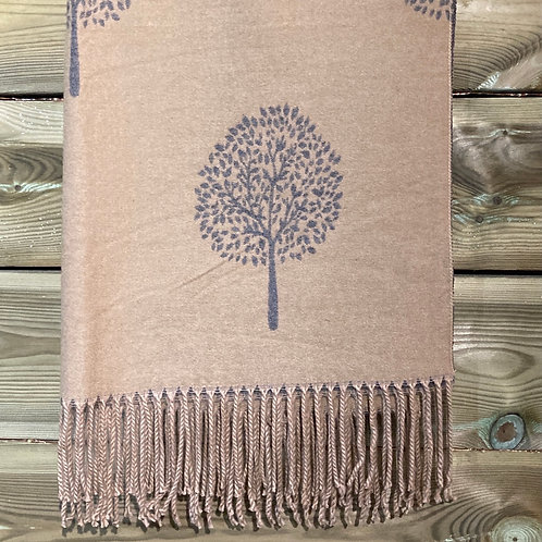 Cashmere Blend Scarf Tree of Life Camel