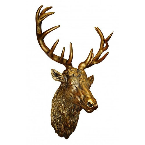 Large Gold Effect Stag's Head