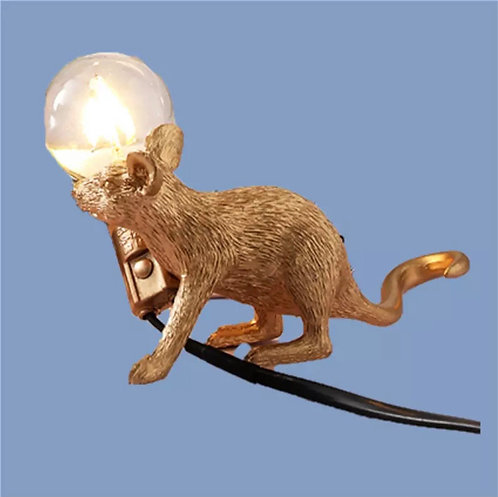 Gold crawling mouse lamp