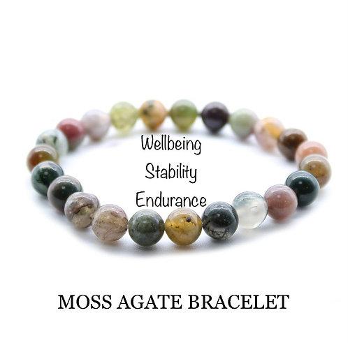 Unisex Moss Agate Gemstone Bracelet (wellbeing*stability*endurance)