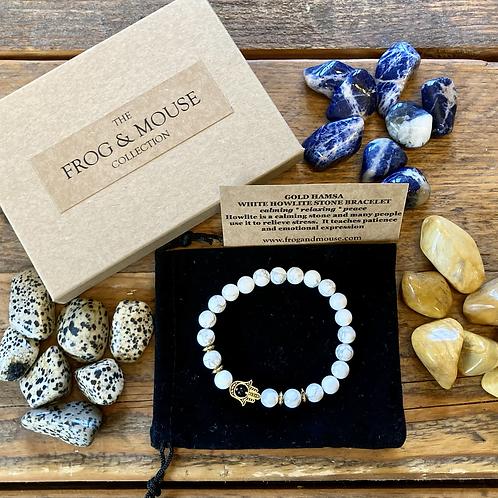 Unisex Gold Hamsa White Howlite Gemstone Bracelet (calming*relaxing*peace)