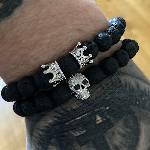 Two Piece Set Silver Skull and Crown Lava Stone Bracelets