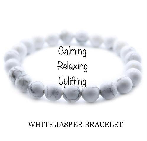 Unisex White Jasper Gemstone Bracelet (calming*relaxing*uplifting)