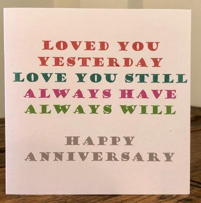 loved you yesterday love you still greeting card
