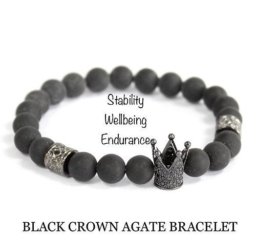 Unisex Crown Black Agate Gemstone Bracelet (stability*wellbeing*endurance)