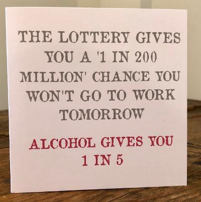 the lottery gives you a 1 in 200 million greeting card