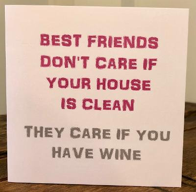 best friends don't care if your house is clean greeting card