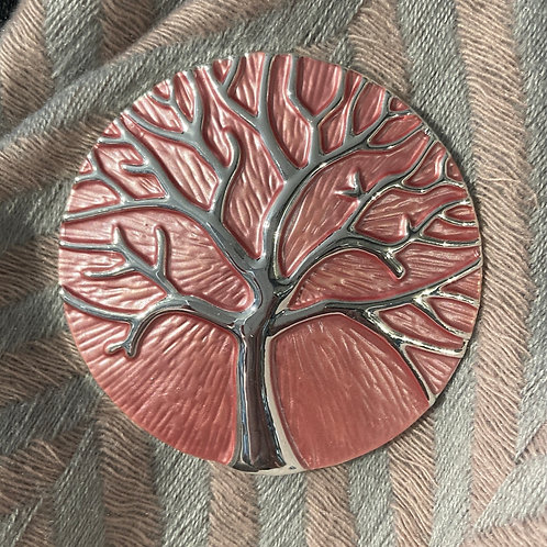 Pink Magnetic Tree of Life Brooch