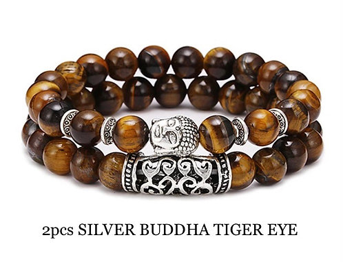 Two Piece Set Silver Buddha Tiger Eye Gemstone Bracelets