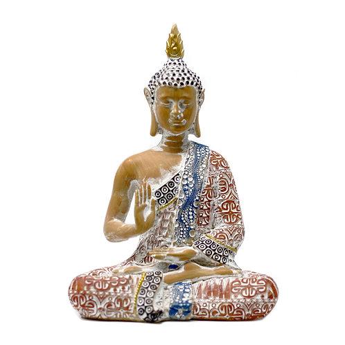 20cm Thai Buddha - Protection - Terracotta & Sky Blue