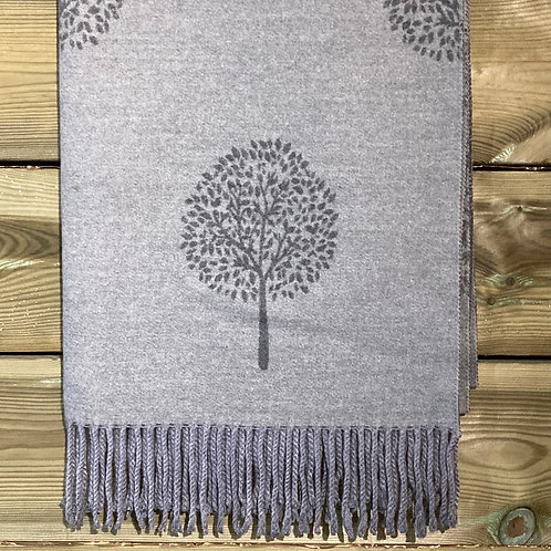Cashmere Blend Scarf Tree of Life Grey