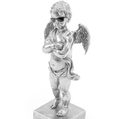 "Silver ""Too Cool"" Cherub Figure on Base"