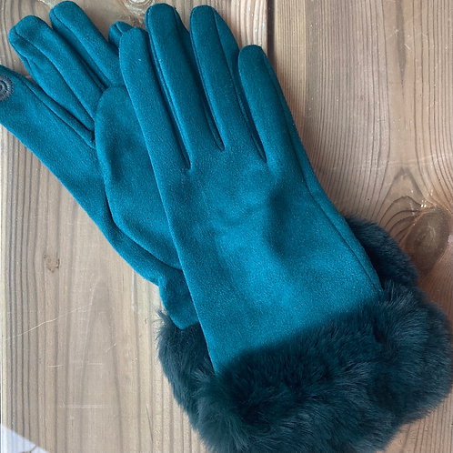 Ladies Gloves Faux Fur Cuff Green
