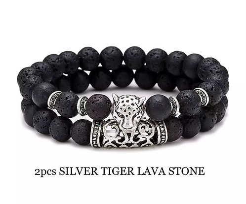 Two Piece Set Silver Tiger Lava Stone Bracelets