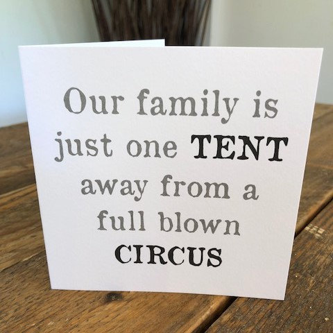 our family is just one tent greeting card