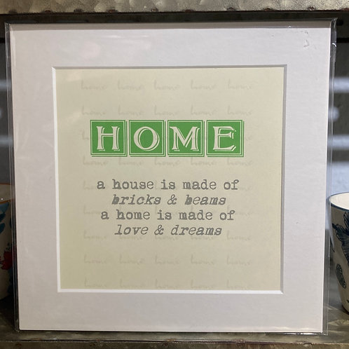 home definition mounted print