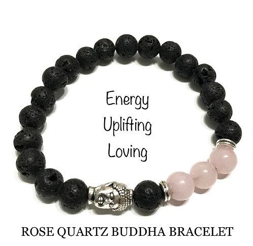 Unisex Buddha Rose Quartz Lava Stone Bracelet (energy*uplifting*loving)
