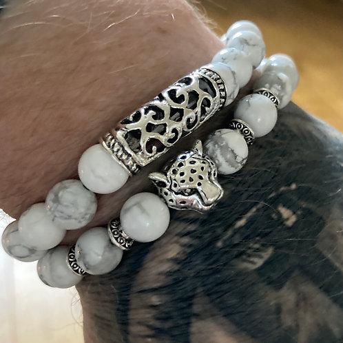 Two Piece Set Silver Tiger White Turquoise Gemstone Bracelets