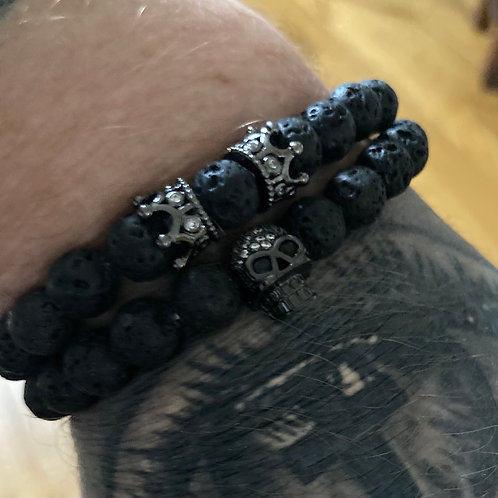 Two Piece Set Gunmetal Skull and Crown Lava Stone Bracelets