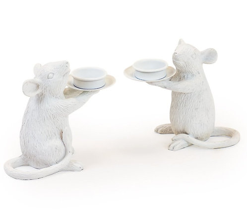 Pair of WhiteMouse Candle Holders