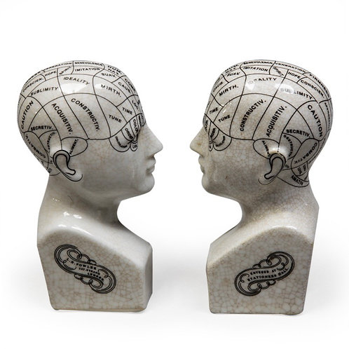 Antiqued Ceramic Phrenology Head Bookends/Ornaments