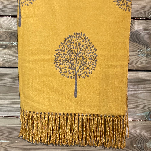 Cashmere Blend Scarf Tree of Life Mustard