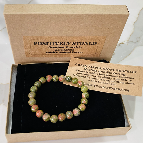 Unisex Green Jasper Gemstone Bracelet 'Healing & Nurturing'