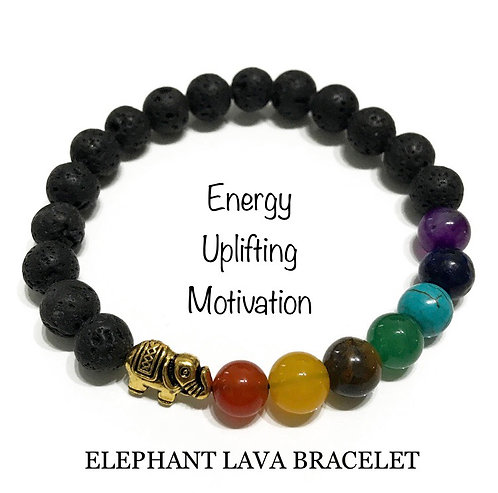 Unisex Elephant Lava Stone Bracelet (energy*uplifting*motivation)
