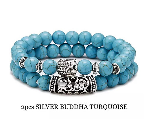 Two Piece Set Silver Buddha Turquoise Gemstone Bracelets