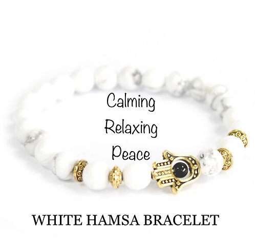Unisex Gold Hamsa White Howlite Gemstone Bracelet (calming*relaxing*peace)