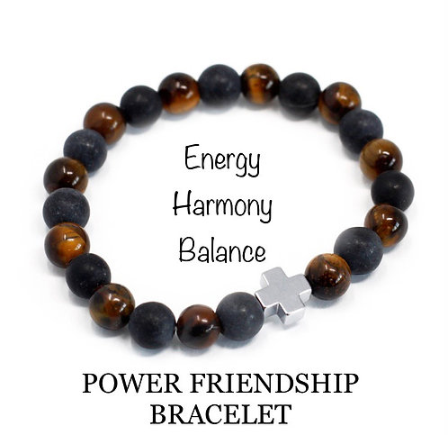 Unisex Power Friendship Bracelet. Tiger Eye and Black Stone