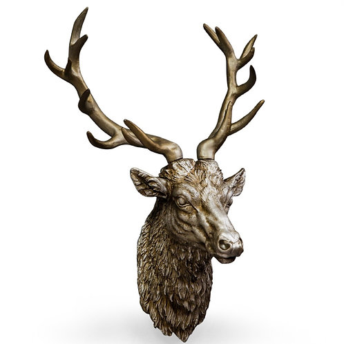 Large Antique Silver  effect Stag's Head Wall Hanging