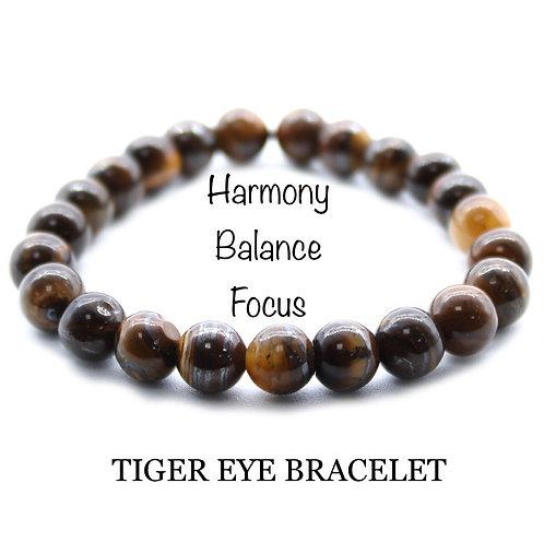 Unisex Tiger Eye Gemstone Bracelet (harmony*balance*focus)