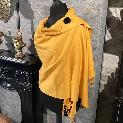 Cashmere blend Mustard Pashmina with pin