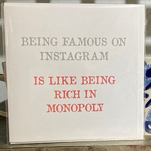 Being famous on Instagram .... greeting card