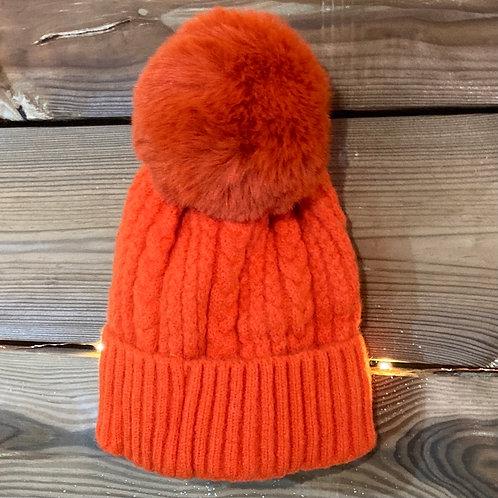 Orange Cashmere Blend Bobble Hat