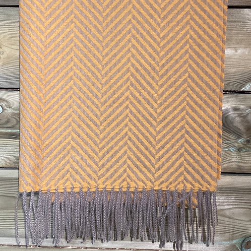 Scarf Herringbone Mustard and Grey