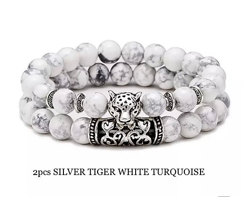 Two Piece Set Silver Tiger White Turquoise Gemstone Bracelets